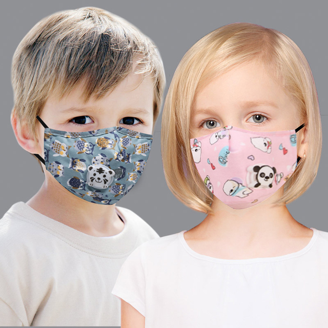 New Fashion Cartoon Reusable Children Mask For kids 2020 Breath Valve Mouth Face Mask kids PM2.5 Filters New Washable Mask 4