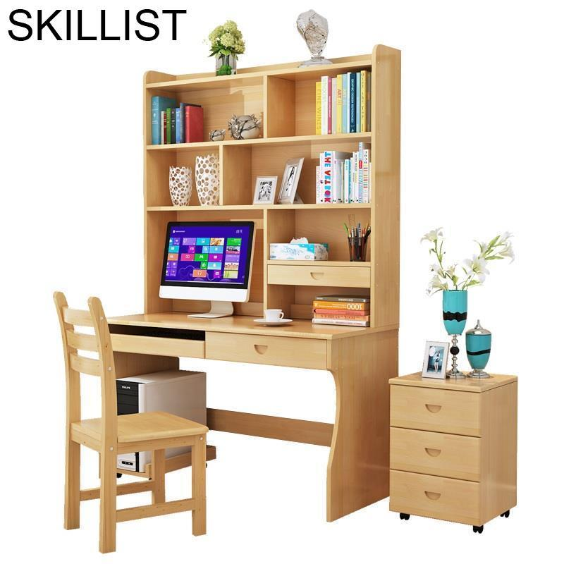 Escritorio De Oficina Tavolo Office Standing Scrivania Ufficio Retro Wooden Desk Bedside Laptop Stand Table With Bookshelf