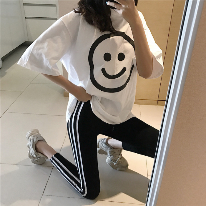 Smiley WOMEN'S Suit Summer Korean-style New Style Trend Sports Casual Large Size Loose-Fit Students Fashion Network Red Two-Piec