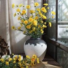 18 cabeça margarida flor de seda flores artificiais pequeno crisântemo selvagem falso flores lilás flor para decoração de mesa casa