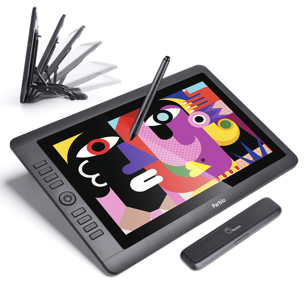 """Parblo cabo16 15.6 """"IPS TFT LCD 1920x1080 tablette graphique dessin moniteur sans batterie stylo passif 8192 niveaux de pression"""