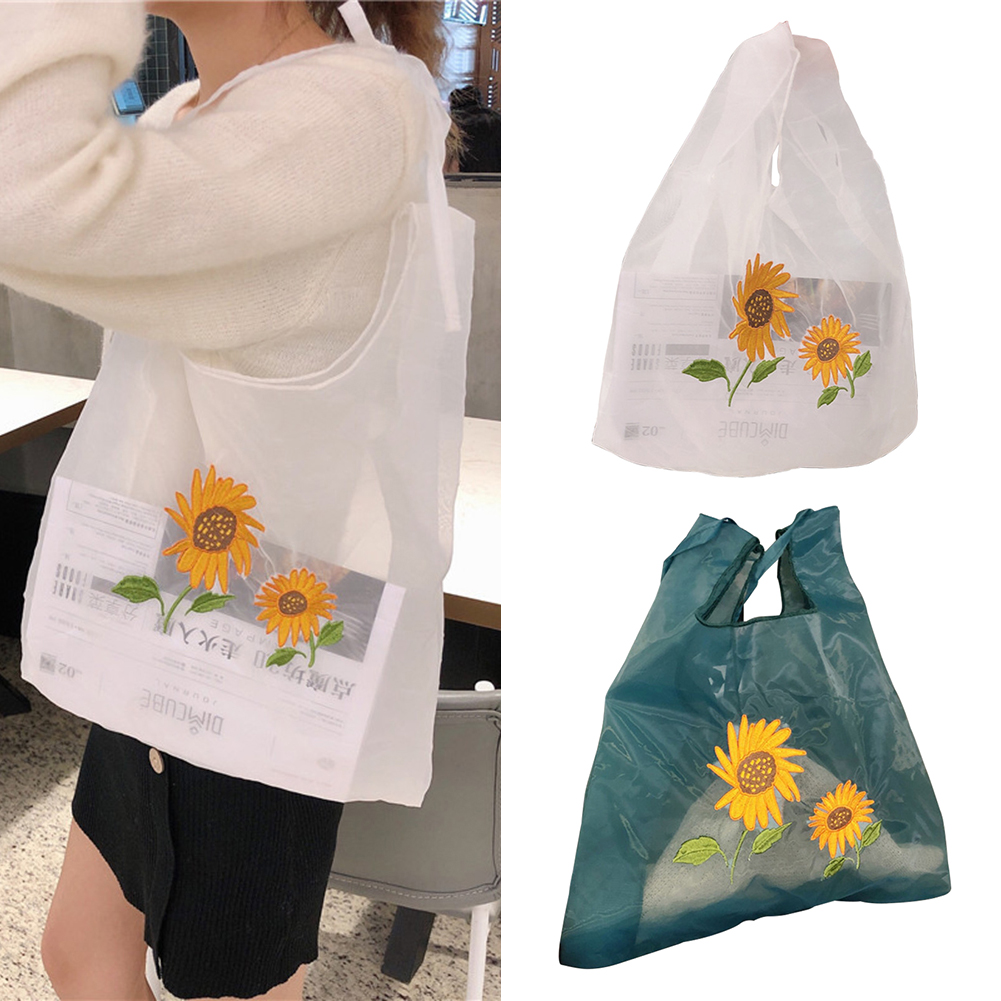 Women Transparent Tote Double Organza Yarn Cloth Shoulder Embroidery Flowers Handbag Eco-Friendly Shopping Bag Girls Purses