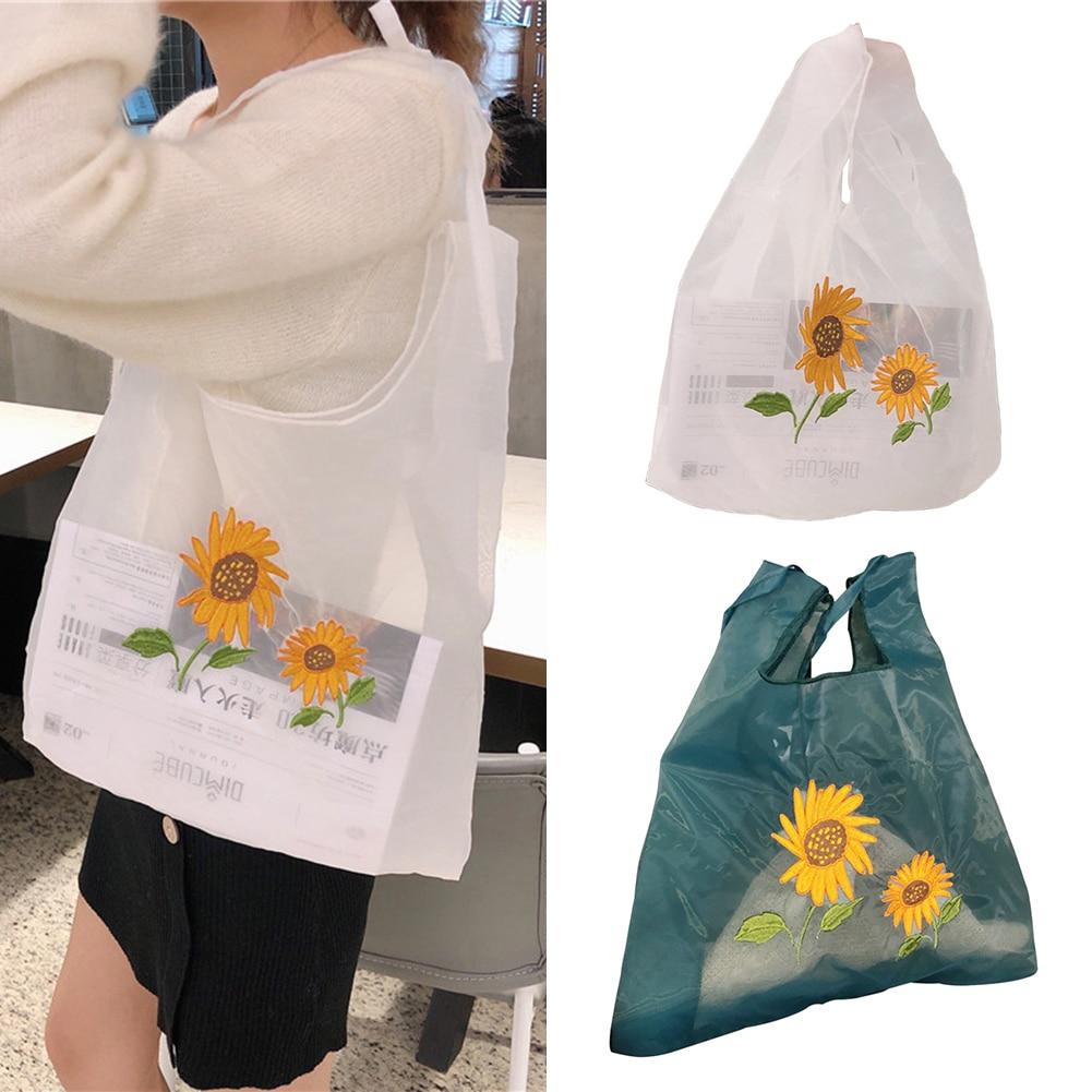 Women Transparent Tote Double Organza Yarn Cloth Shoulder Embroidery Flowers Handbag Eco-Friendly Shopping Bag Girls Purses