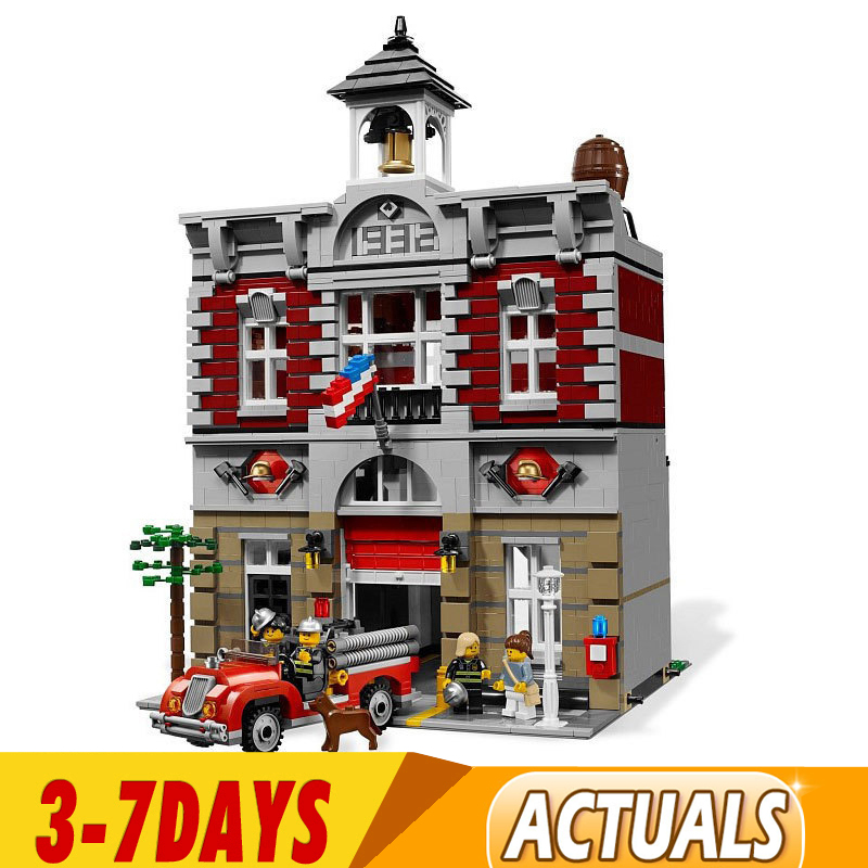 2020 DHL City Street 15004 Fire Brigade Model Building Kits Blocks Bricks Compatible 84004 99009 10197 Children Toys Gifts 1