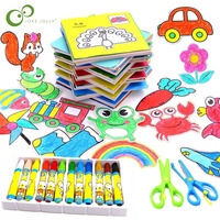 61Pcs Cartoon Color Paper Folding Cutting & 12 Colors Wax Crayon Art Craft DIY Educational Painting Drawing Toys Kids Gift ZXH