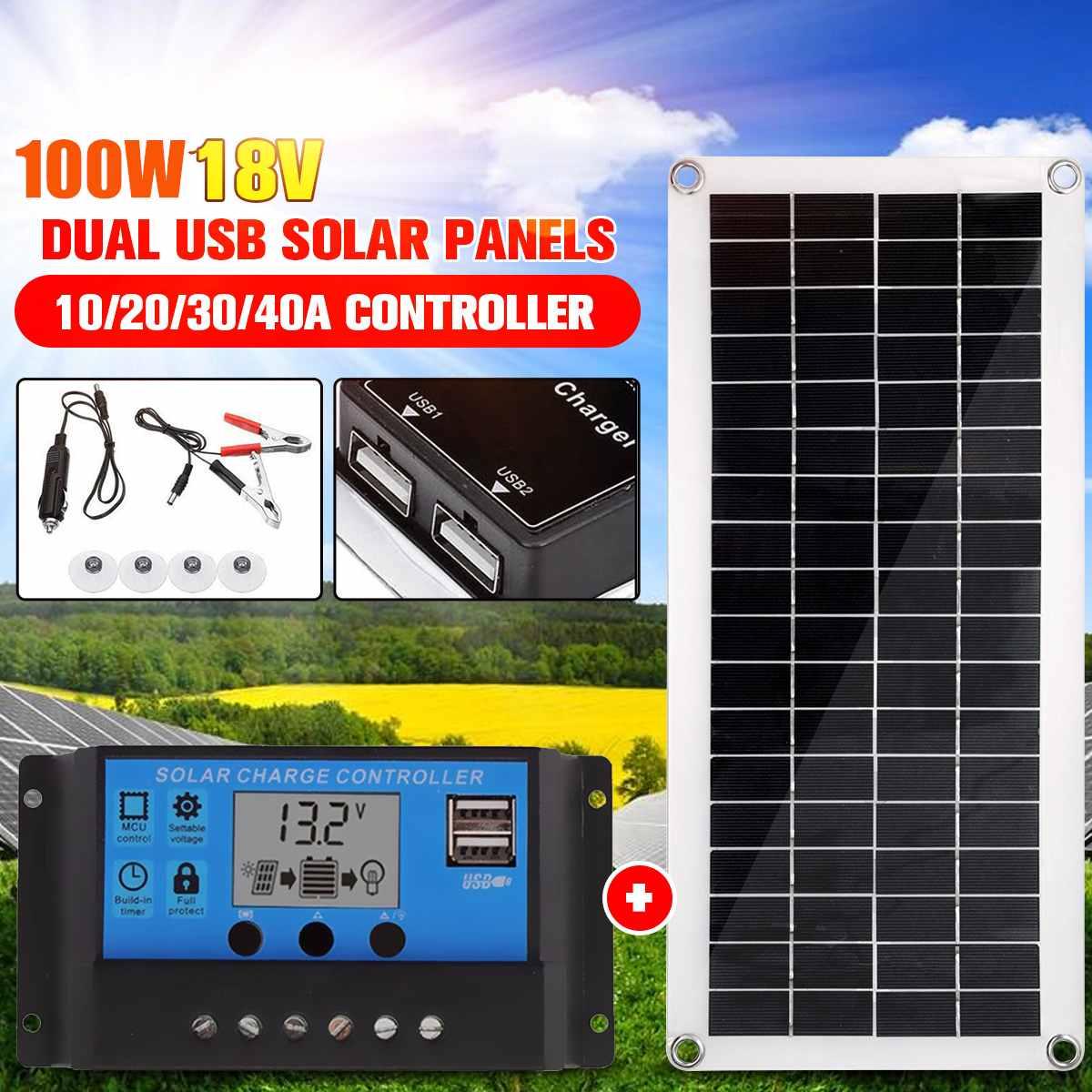100w 18v portátil painel solar duplo usb power bank board bateria externa de carregamento solar célula placa clipes crocodilo carro carregador