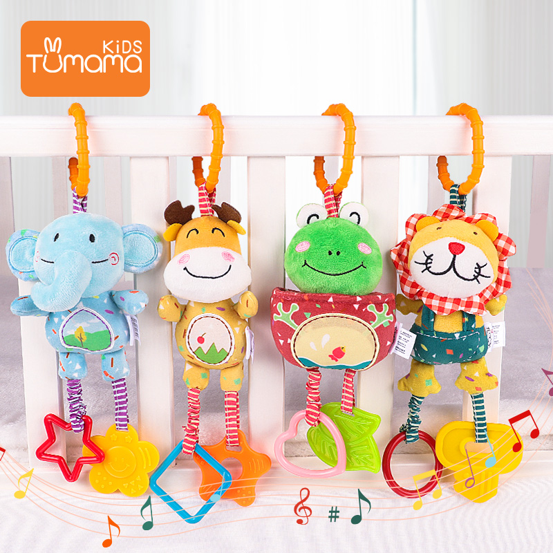 Baby Rattles Baby Crib Stroller Toy Teethers Soft Plush Early Development Stroller Car Hanging Toys for Infant Birthday Gift
