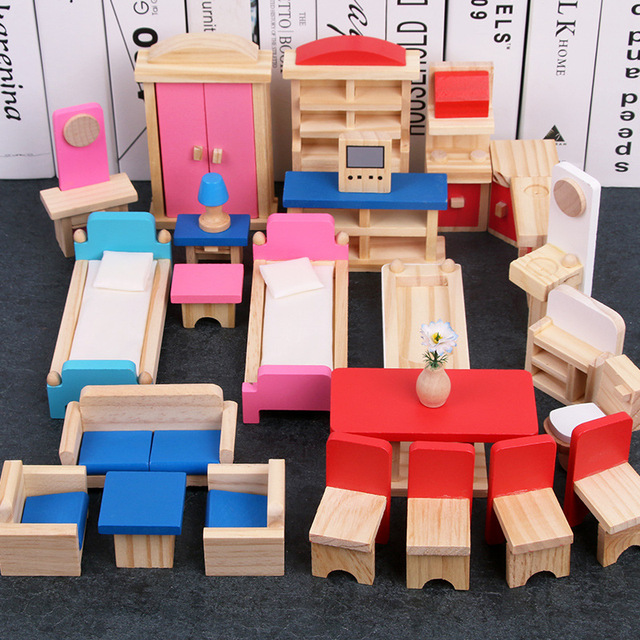 Miniature Furniture Dolls House Wooden Dollhouse Furniture Sets Educational Pretend Play Toys Children Kids Girls Toy Gifts