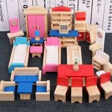 Minyatür mobilya bebek evi ahşap Dollhouse mobilya setleri eğitim oyna Pretend oyuncaklar çocuk çocuk kız oyuncak hediyeler