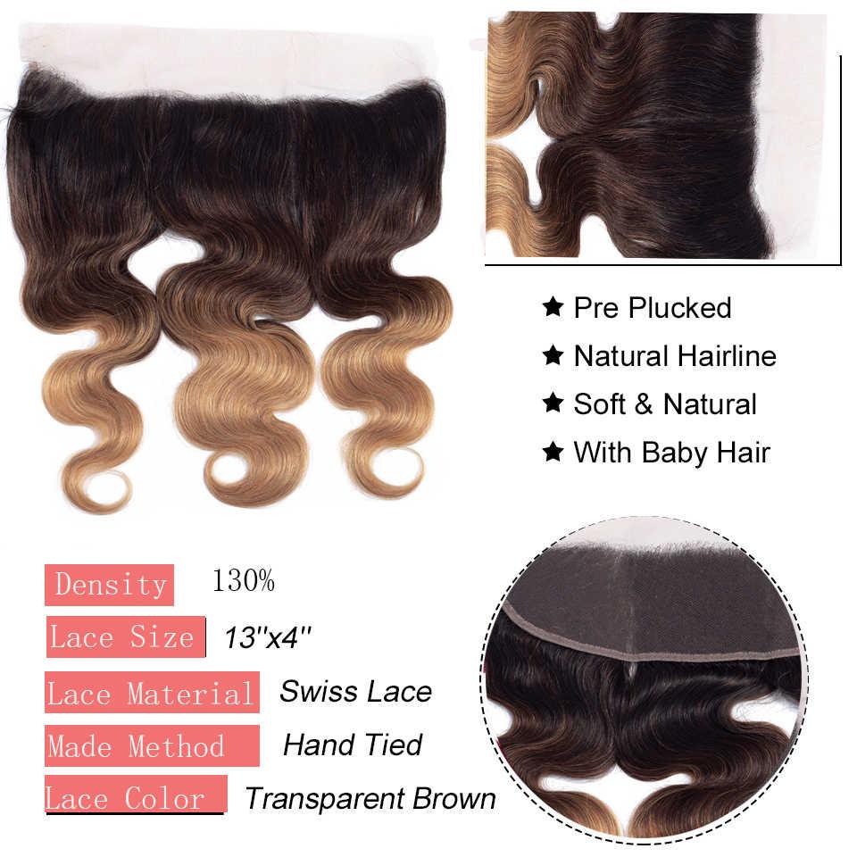 Onda do corpo 1b/4/27 pacotes ombre com fechamento frontal remy cabelo humano indiano cru 13*4 laço frontal com pacotes linha fina natural
