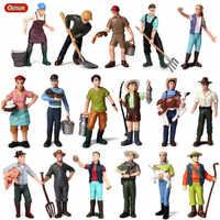 Oenux, figuritas de granja con cerdo, vaca, gallina, granjero, en miniatura, caballo, oveja, animal, modelo de animales, figura de acción, juguete decorativo para jardín para el hogar