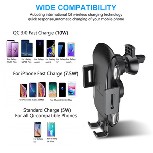 Image 4 - Soporte para cargador de coche inalámbrico, sujeción automática, 10W, 7,5 W, Qi, carga rápida, soporte de teléfono para iPhone X, Samsung, Xiaomi, Huawei