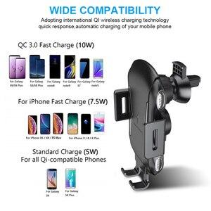 Image 4 - Support de chargeur de voiture sans fil de serrage automatique 10W 7.5W Qi support de téléphone dévent de charge rapide pour iPhone X Samsung Xiaomi Huawei