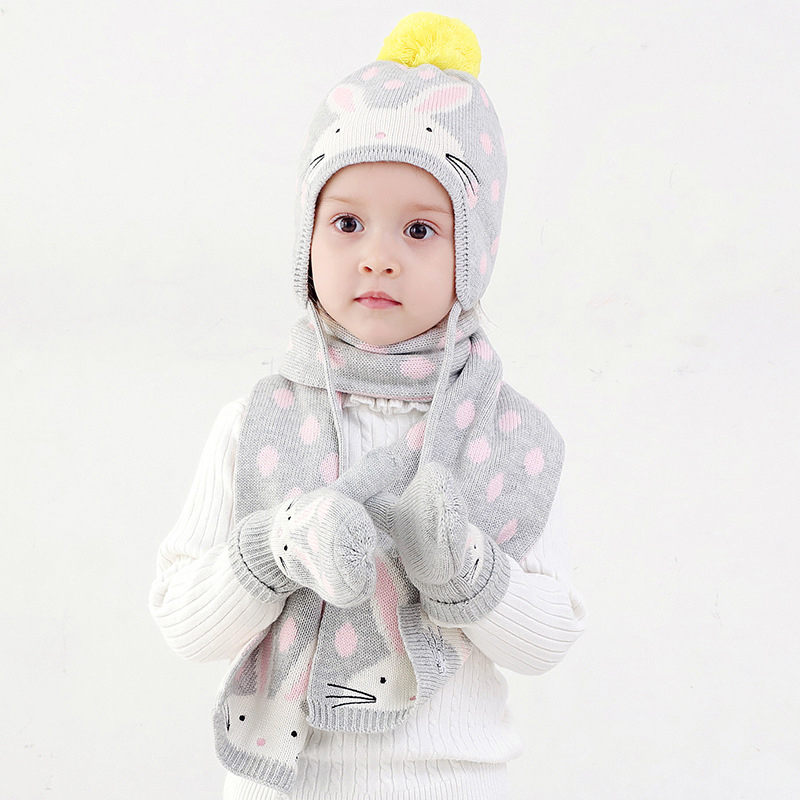 Hat Scarf Glove Set Kid Girl Winter Earflap Beanie Pompon Warm Three Pieces Skiing Outdoor Accessory Toddler Baby