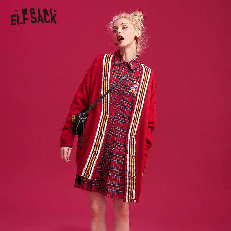 ELFSACK Red Rat Stick Casual Knitted Cardigan Women Sweater 2019 Winter Striped Patchwork Glossy Button British Female Top