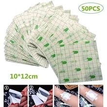 50Pcs/lot Transparent Tape PU film Adhesive Plaster Waterproof Anti-allergic Wound Dressing Fixation Tape self-Paste