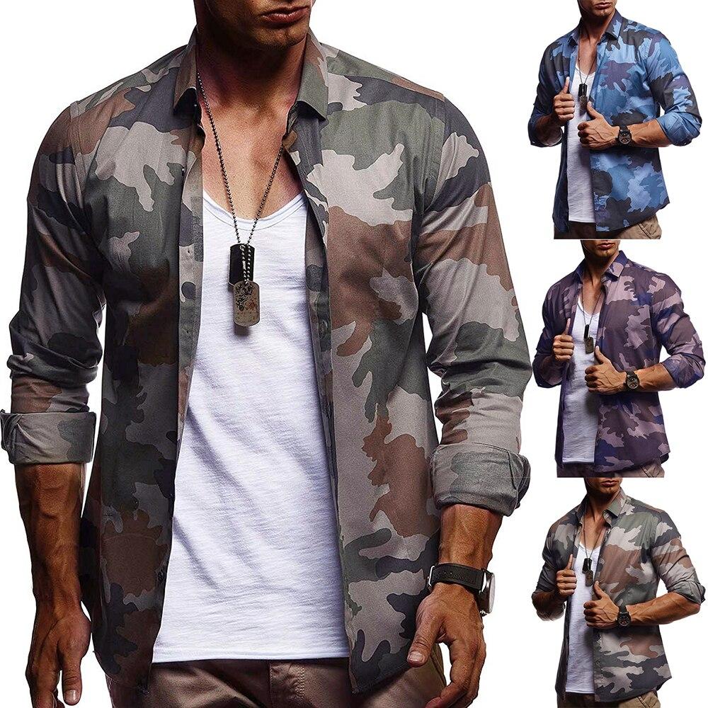 Fashion Camouflage Shirt Men 2019 Autumn Long Sleeve Casual Shirts Slim Hip Hop Streetwear Camisas Hombre Luxury Men Clothing