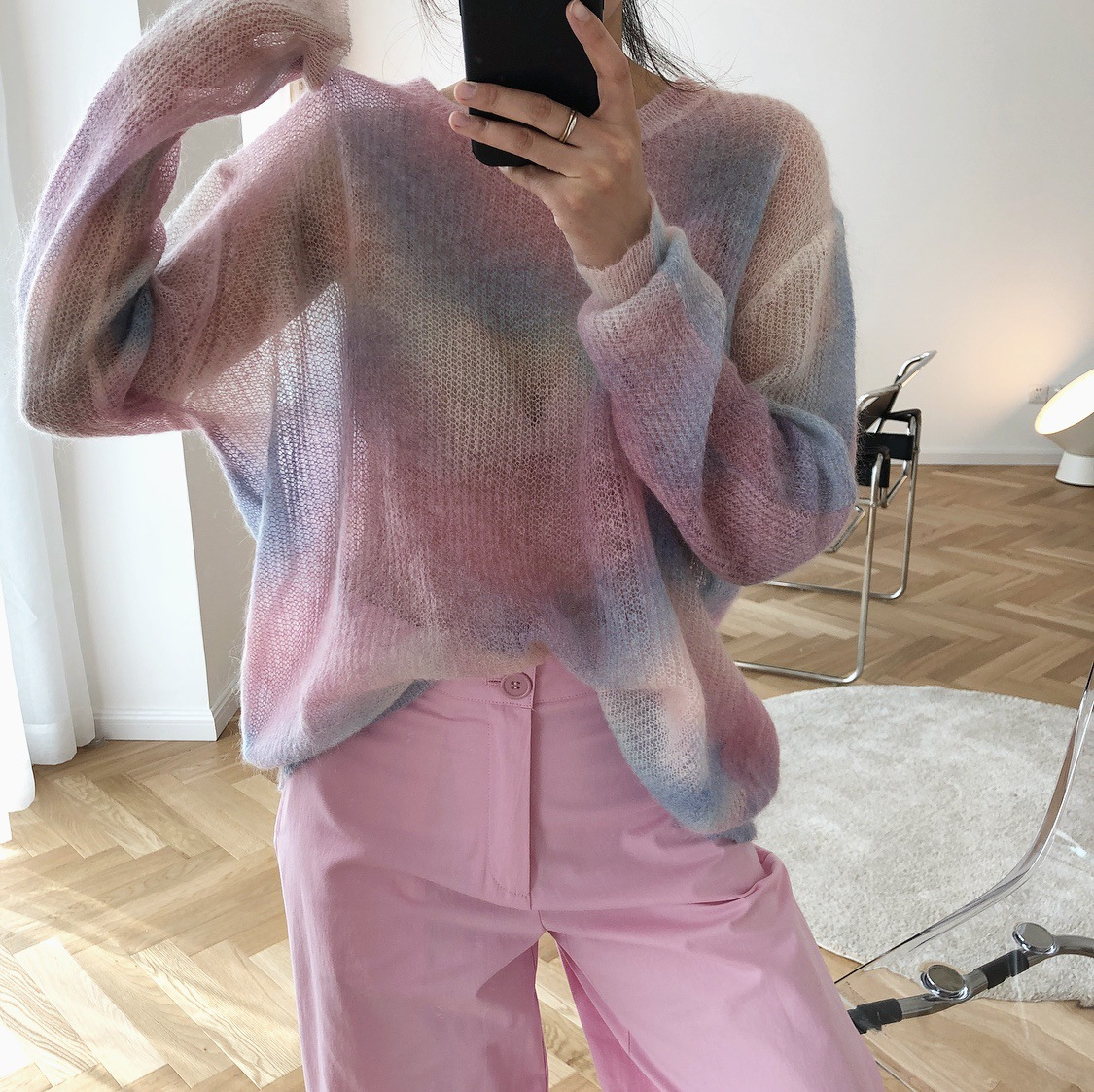 2020 Thin Mohair Sweater Women Loose Casual Pullovers Women Sweater Sweet Elegant Sweater Casual Pull Femme Perspective Tops
