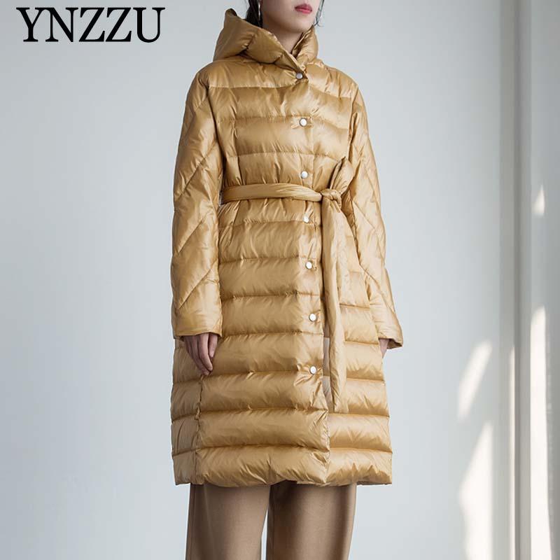 Winter Women Long down jacket 2020 Newest Thick warm White duck down Coat with belt Loose Elegant female Long Outwear YNZZU O138