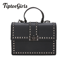 купить 2019 Brand Women Bags Luxury Handbags Women Messenger Bags Cover Rivet Bag Girls Fashion Shoulder Bag Ladies PU Leather Handbags по цене 848.01 рублей