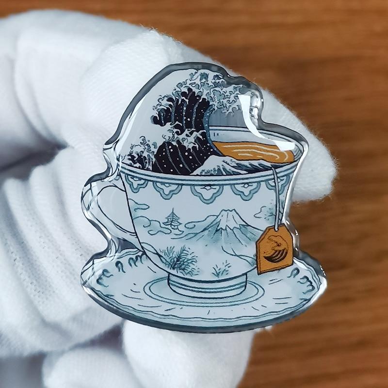 Волнистая волна в чашке чая эмалированная булавка Katsushika Hokusai значок успокоит наше беспокойное сердце