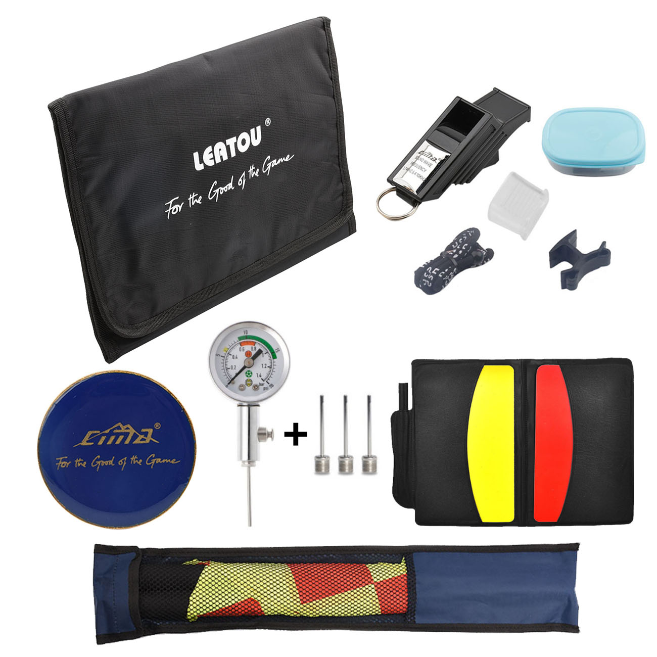 CIMA Soccer Whistle Football Referee Wallet Coin Cards Linesman Flags Ball Pressure Barometer Set Training Bag Accessories