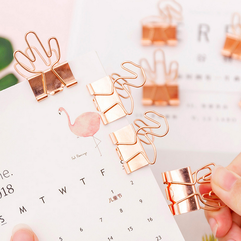 4 Pcs/lot Rose Gold Flamingo Cactus Student Clips File Clip Organizer Papelaria Kawaii Stationery Office & School Supplies Zakka
