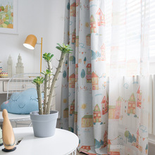 Cartoon House Printed Blackout Curtains for Living Room Children Room Cortina Sheer Curtain for Kids Room