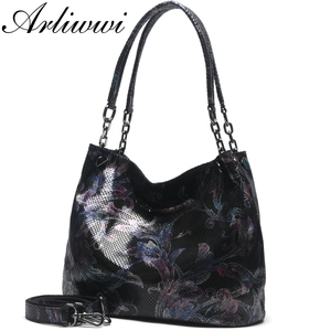 Image 2 - Arliwwi Brand 100% Real Leather Shiny Flower Female Handbags Pewter Chain Genuine Suede Cow leather Embossed Bags GY15