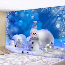цена на Beautiful Christmas snowman print Tapestry Bedroom Living Room Wall Hanging Tapestry Home Decor Xmas Mat for Christmas New Year