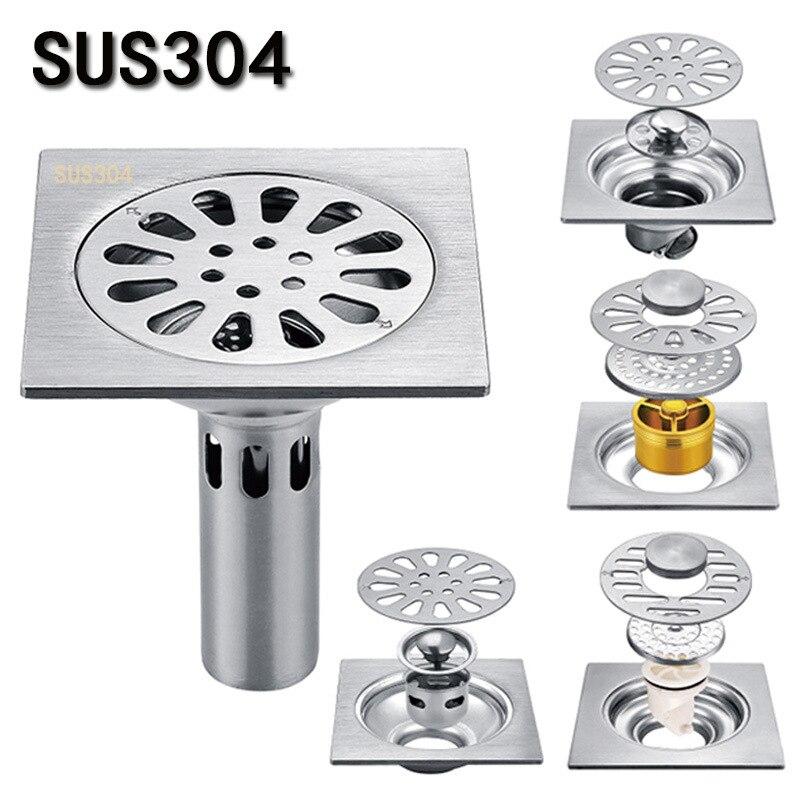 304 Stainless Steel Brushed Floor Drain 10 * 10cm Deodorant Core Self-sealing Bathroom Washing Machine Water Plug Floor Drain