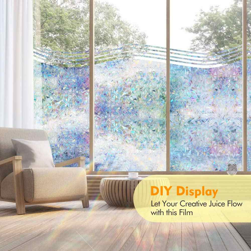 Non-Adhesive Static Glass Cover Colourful 3D Privacy Window Film Decoration DIY