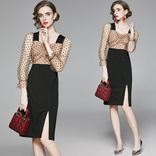 Zuoman женское элегантное платье в горошек с сеткой стиле «festa