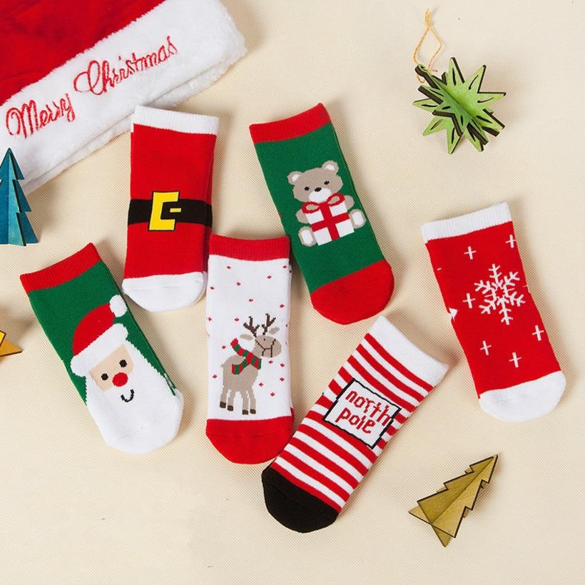 2019 Xmas Baby Socks Snowman Printed Baby Boys Girls Socks Cotton Floor Thick Feetwear Christmas Sock Anti Slip Newborn Socks