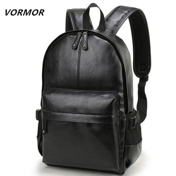 Marca VORMOR, mochila para hombre, mochila escolar de cuero, bolsa de viaje a la moda impermeable, bolsa de cuero informal para hombre