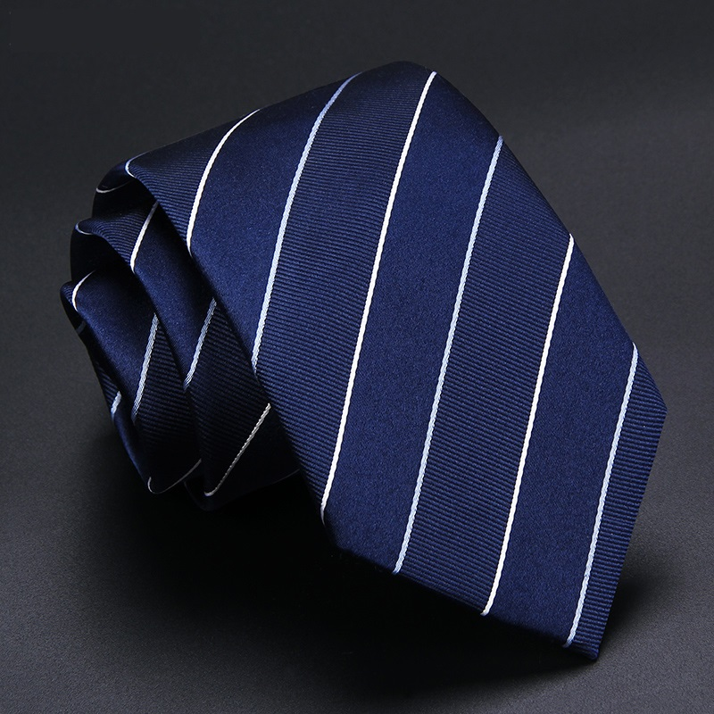 High Quality 2019 New Designers Brands Fashion Business 7cm Slim Ties For Men Deep Blue Striped Silk Necktie Work With Gift Box