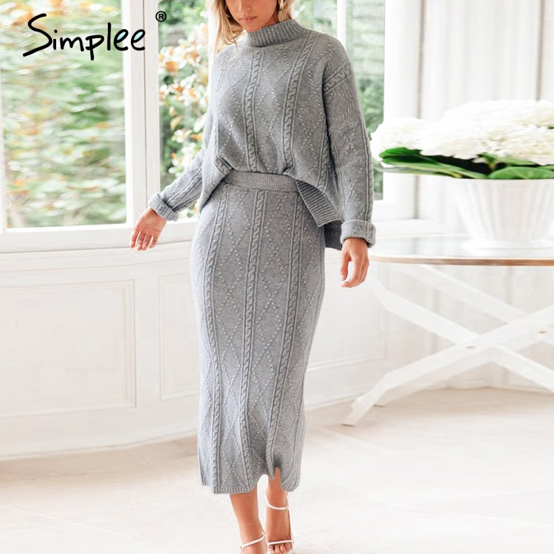 Simplee Elegant Two-pieces Women Knitted Skirt Suit Autumn Winter Long Sleeve Ladies Suit Set Elegant Party Female Sweater Dress