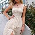 Simplee Baumwolle square neck sleeveless Frauen kleid 2021 Maxi Sommer Spaghetti Strap A-linie Sommerkleid Casual Taste Rüschen Vestidos