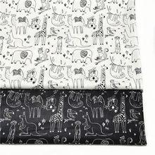 Preto e branco 100% tecidos de sarja de algodão para diy costura têxtil tecido tecido tecido tecido de retalhos