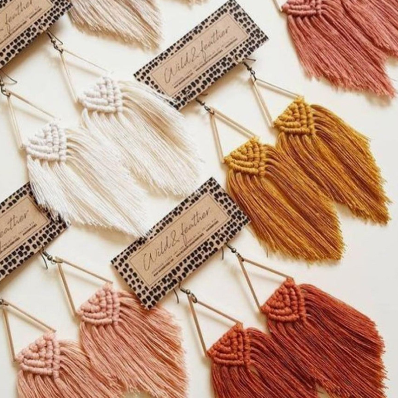 Dvacaman Boho Weave Macrame Earrings Triangle Ethnic Feather Fringe Tassel Earrings Bridesmaid Gifts Wedding Jewelry Accessories