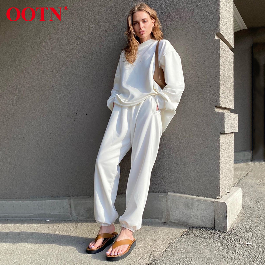 OOTN Autumn Winter Sweatshirt And Pants Two Piece Set Women Casual Loose Solid Pullover Tracksuit Ladies Trousers 2 Piece Set