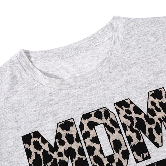 Vogue femmes manches courtes Hararuku maman T-shirt Femme Ulzzang gris léopard imprimé maman vie T-shirt Vintage T-shirt haut coréen vêtements