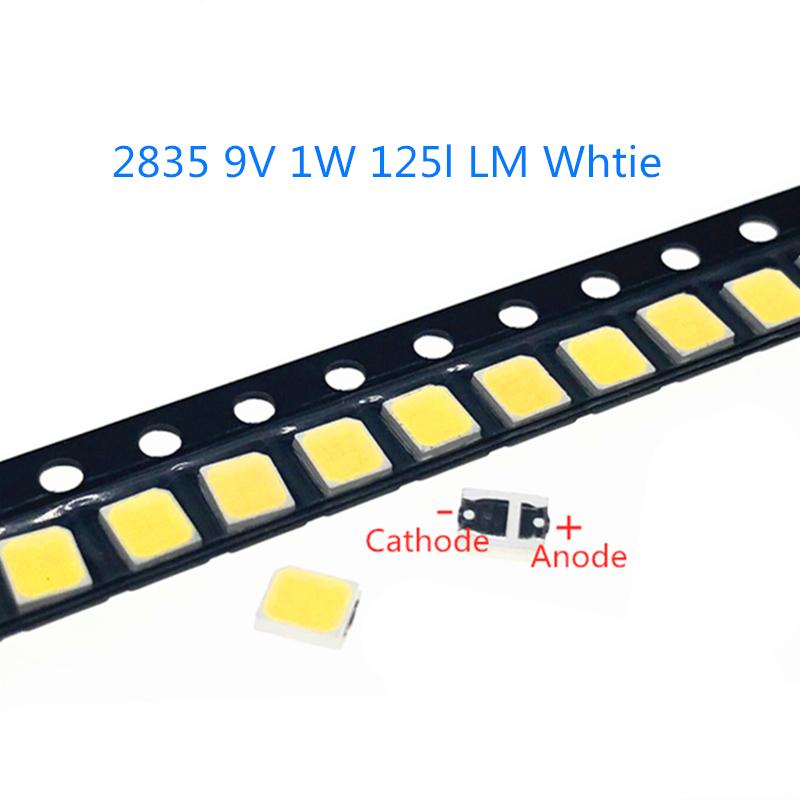 50-1000 teile/los Hohe Helligkeit <font><b>2835</b></font> 125Lm <font><b>SMD</b></font> <font><b>LED</b></font> Chip <font><b>1W</b></font> 9V Warm Cold White <font><b>LED</b></font> Oberfläche montieren PCB Licht Emittierende Diode Lampe image