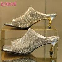 Rhinestone Glittering Mules High Heels Luxury Sandals Women Square Toe Slides Ladies Shoes Metal Heel Crystal Slippers Woman