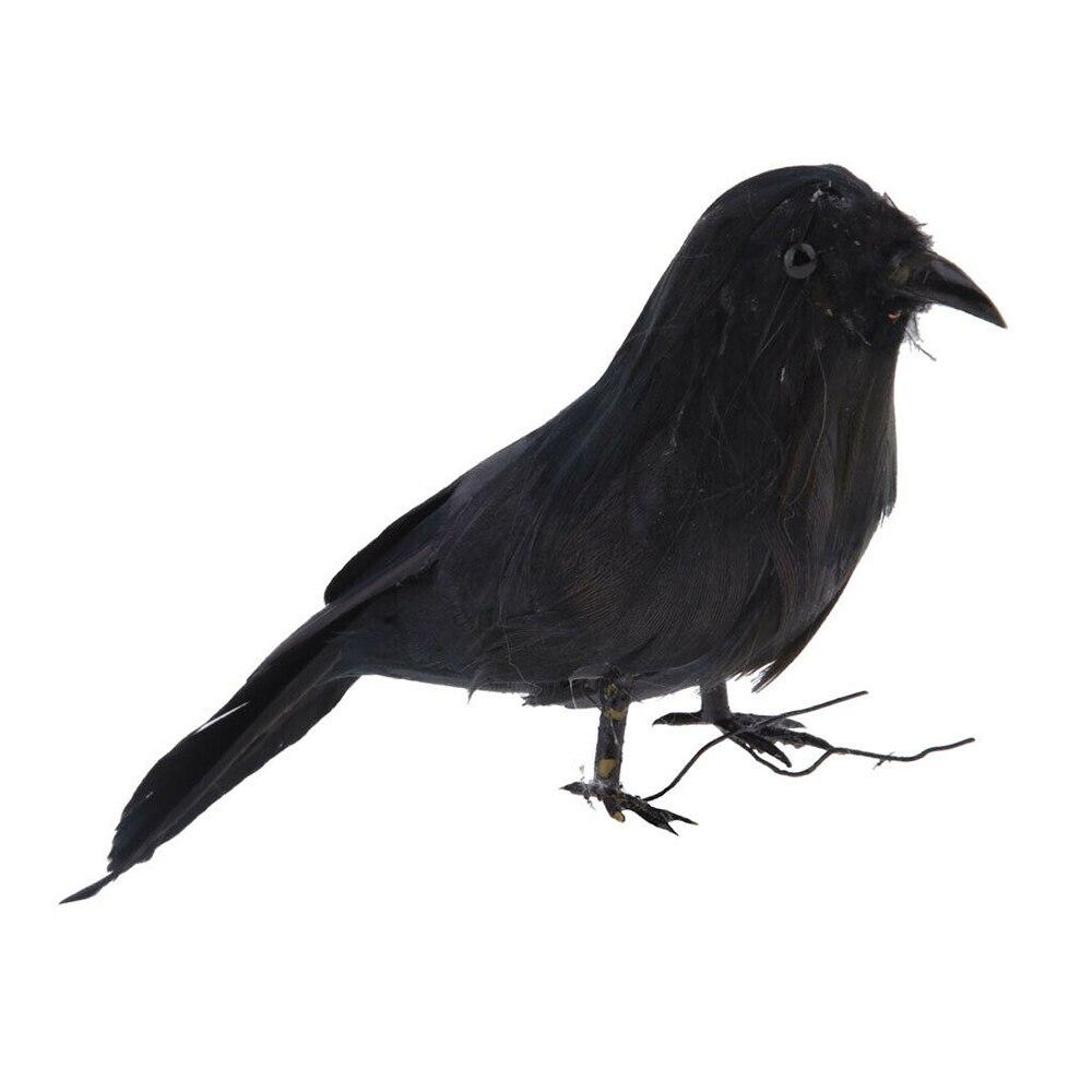 Black Lifesize Raven Movie Prop Fake Crow Halloween Fake Bird Hunting Decoy EN