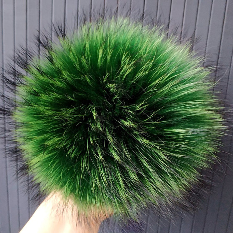 15cm Pompom Hats Raccoon Beanies Green-Fur Huge Pendants for Keychains-Accessories 2pcs/Lot title=