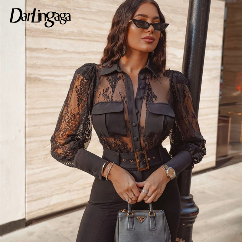 Darlingaga Fashion Black Transparent Lace Blouse Shirt Women Tops Puff Sleeve Sexy Shirts Mesh Patchwork Cropped Hot Sale Autumn