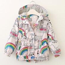 Осенняя водонепроницаемая куртка в Корейском стиле с длинными рукавами для маленьких девочек с цветочным рисунком модная детская куртка с принтом радужных птиц CT056