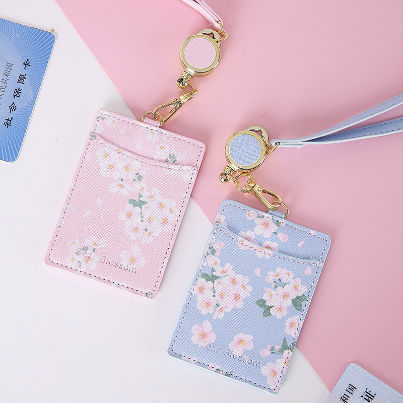 Newest Cherry Flowers PU Card Holder Retractable Lanyard 2 Bits Card Bag Women Identity Badge Reel Rope Card Case ID IC Holders