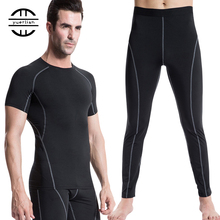 2019 Compression Gym Tracksuit Men Shirt Pantsuit Fitness Tight Sport Suit Polyester Running Set Demix MenS Sportswear